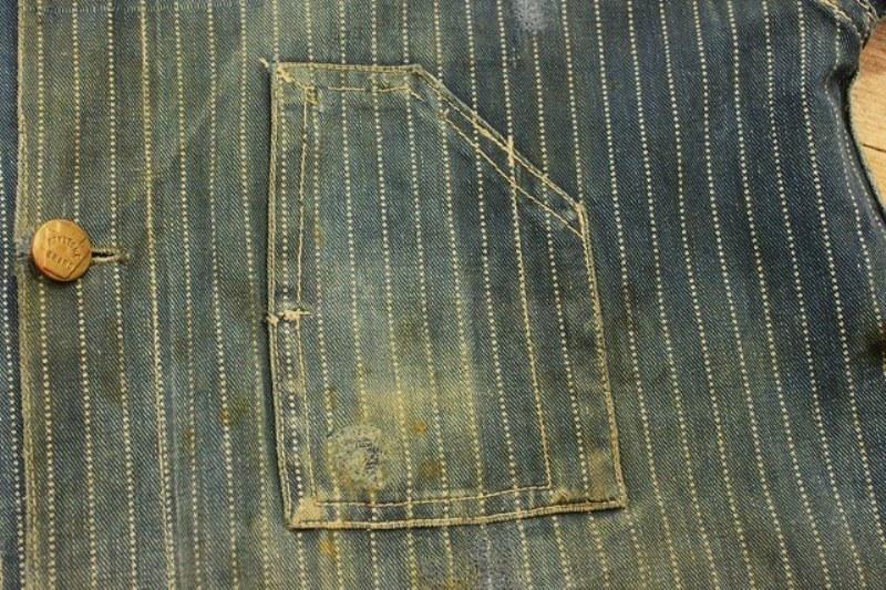 1920 stiffel railroad jacket vintage long john blog clothing treasure hunting japan used worn-out blue old train authentic rare  (5)