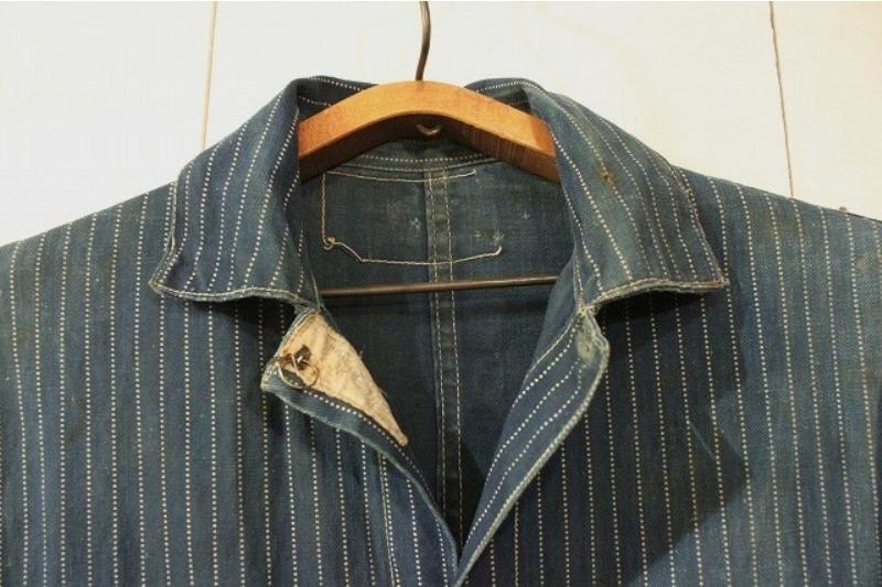 1920 stiffel railroad jacket vintage long john blog clothing treasure hunting japan used worn-out blue old train authentic rare  (9)