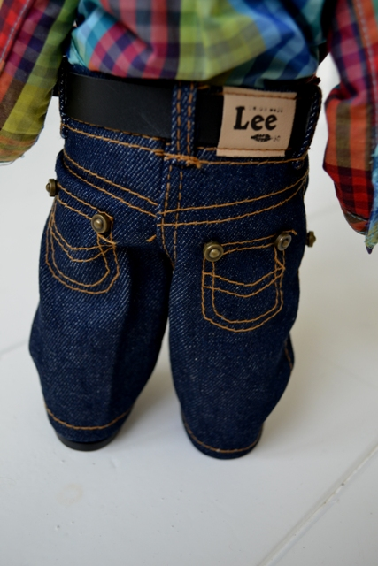 Buddy Lee long john blog lee jeans usa advertising promo window shop promotion 1920 left hand fabric gold line 2007-2008 jeans denim selvage selvedge doll pop cat eye buttons (7)