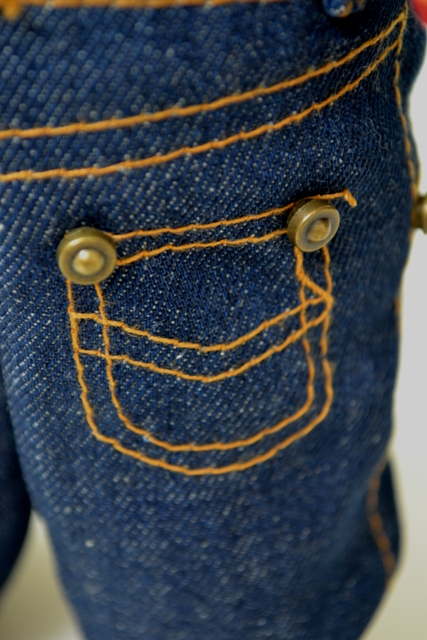 Buddy Lee long john blog lee jeans usa advertising promo window shop promotion 1920 left hand fabric gold line 2007-2008 jeans denim selvage selvedge doll pop cat eye buttons (9)