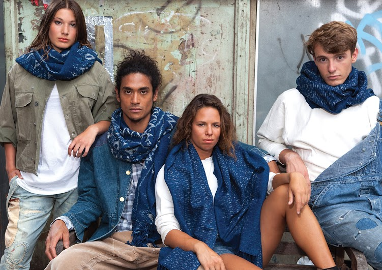 Indigo People scarfs long john blog handmade holland amsterdam blue worn jeans denim toile de chine clothing vintage authentic dyed natural indigo special edition anniversary  (3)