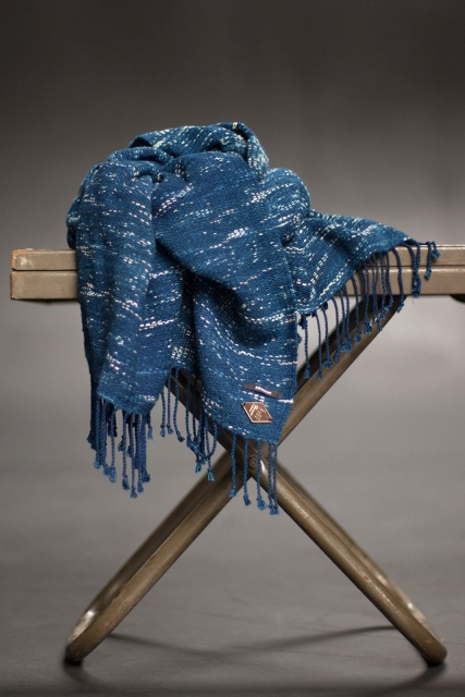 Indigo People x Denham_Tsuru long john blog rigid raw scarf shawl holland handmade blue indigo  (4)