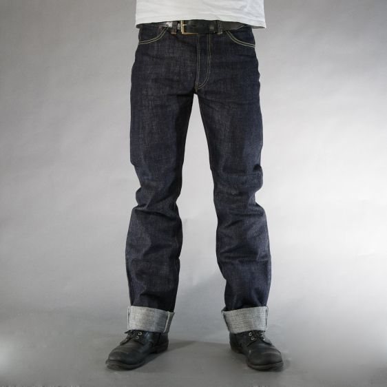 Jelado jeans denim long john denim blue raw rigid selvage selvedge unwashed raw leather patch buttons pockets straight fit (2)