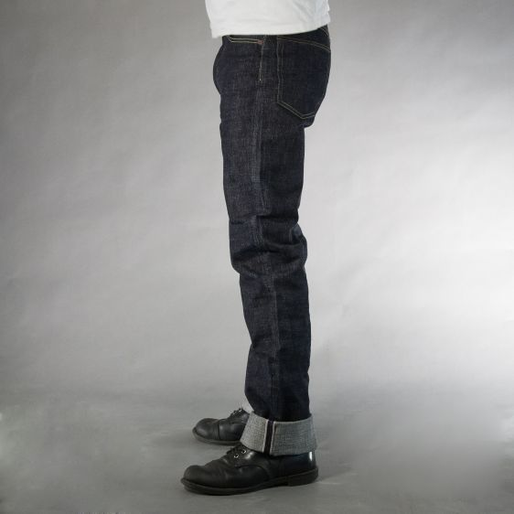 Jelado jeans denim long john denim blue raw rigid selvage selvedge unwashed raw leather patch buttons pockets straight fit (3)