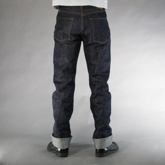 Jelado jeans denim long john denim blue raw rigid selvage selvedge unwashed raw leather patch buttons pockets straight fit (4)