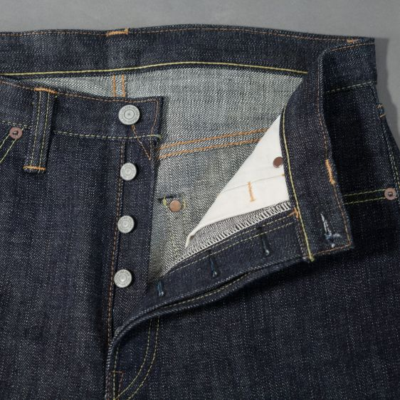 Jelado jeans denim long john denim blue raw rigid selvage selvedge unwashed raw leather patch buttons pockets straight fit (6)