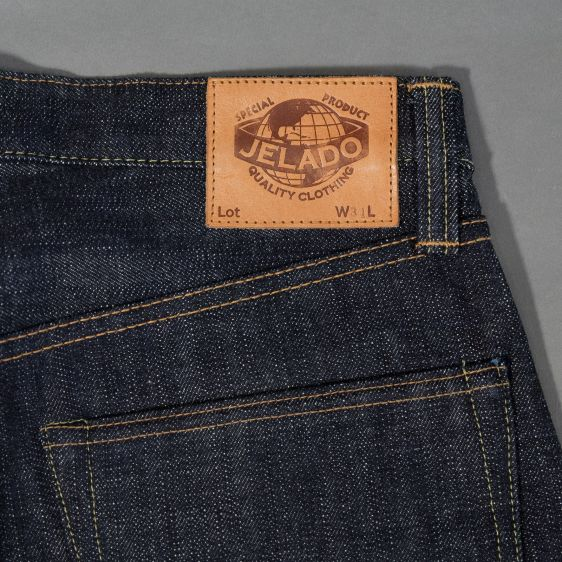 Jelado jeans denim long john denim blue raw rigid selvage selvedge unwashed raw leather patch buttons pockets straight fit (9)