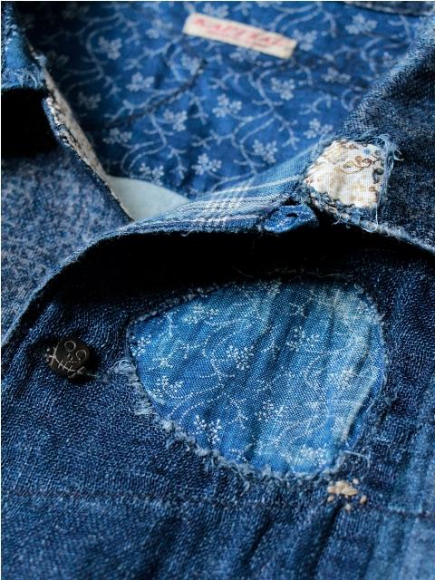 KAYA x INDIGO BORO Aloha Shirt kapital long john blog shirt sashiko japan authentic blue stiching rags old worn-out worn patch patched denim jeans fabric (5)