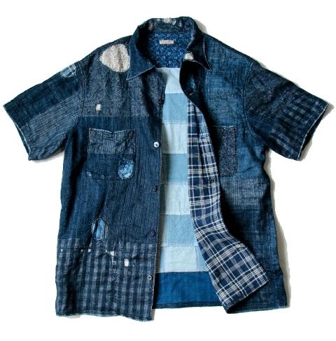 KAYA x INDIGO BORO Aloha Shirt kapital long john blog shirt sashiko japan authentic blue stiching rags old worn-out worn patch patched denim jeans fabric (7)