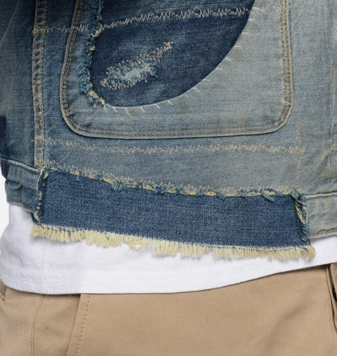 LVC Levi's vintage clothing long john blog 1878 Triple Pleated Blouse Rooftop made in usa denim jeans rigid raw unwashed trucker jacket type 2 red tab big E sashiko stiching japan blue pockets coin pocket repair custom ma (2)