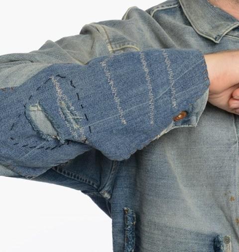 LVC Levi's vintage clothing long john blog 1878 Triple Pleated Blouse Rooftop made in usa denim jeans rigid raw unwashed trucker jacket type 2 red tab big E sashiko stiching japan blue pockets coin pocket repair custom ma (5)