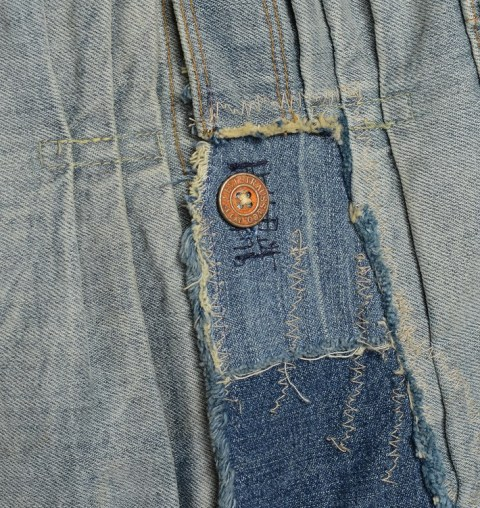 LVC Levi's vintage clothing long john blog 1878 Triple Pleated Blouse Rooftop made in usa denim jeans rigid raw unwashed trucker jacket type 2 red tab big E sashiko stiching japan blue pockets coin pocket repair custom ma