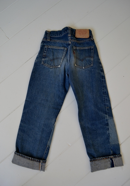 Levi's jeans denim big e BIG E long john blog raw rigid blue selvage selvedge red line button #4 single stich talon zipper 42 wouter munnichs usa vintage 1960 old kids jean train tracks (13)