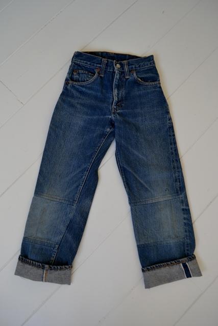 Levi's jeans denim big e BIG E long john blog raw rigid blue selvage selvedge red line button #4 single stich talon zipper 42 wouter munnichs usa vintage 1960 old kids jean train tracks (7)