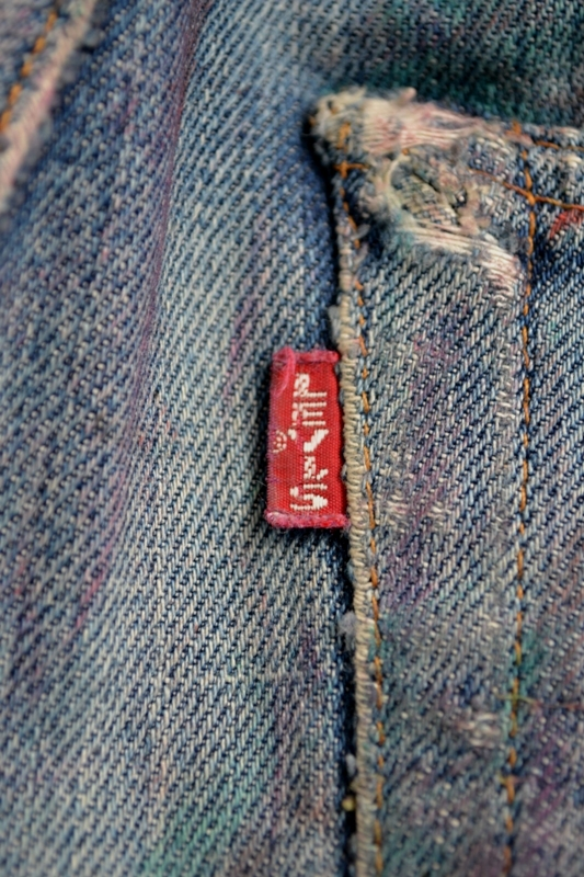 Levi's vintage clothing LVC long john blog worn-out old blue denim jeans handmade selvage selvadge valencia street button #555 made usa leather patch single stiched big E(32)