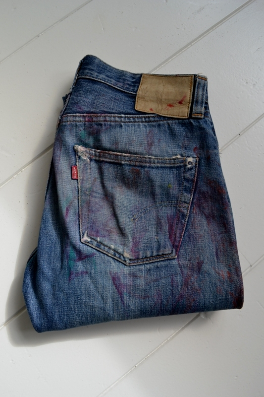 Levi's vintage clothing LVC long john blog worn-out old blue denim jeans handmade selvage selvadge valencia street button #555 made usa leather patch single stiched big E(39)