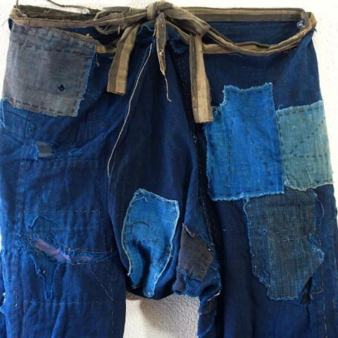 Momohiki, Japanese Boro Indigo Cotton WorkerLaborer Trousers long john blog blue indigo blauw authentic antiek oud origineel original farmer  (12)
