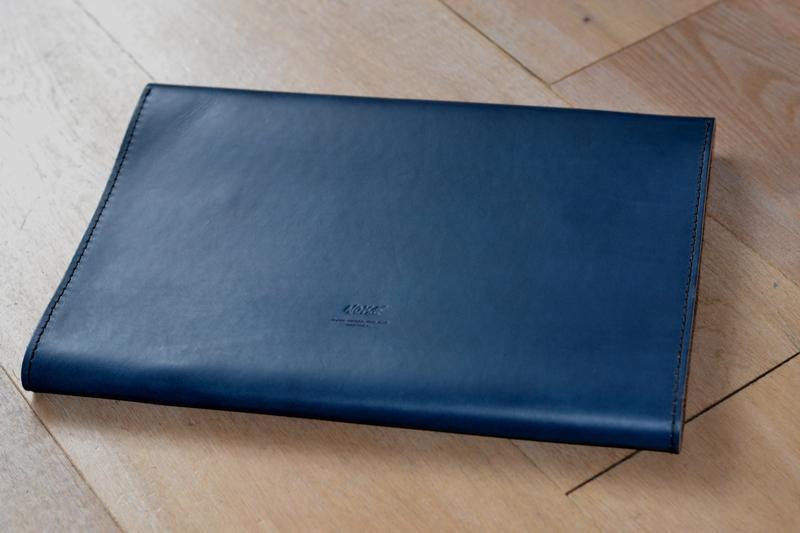 Noise goods indigo folio A4 clutch long john blog blue portugal natural tanned leather handmade europe denim jeans new paper bag big wallet canvas wool inner pocket (8)