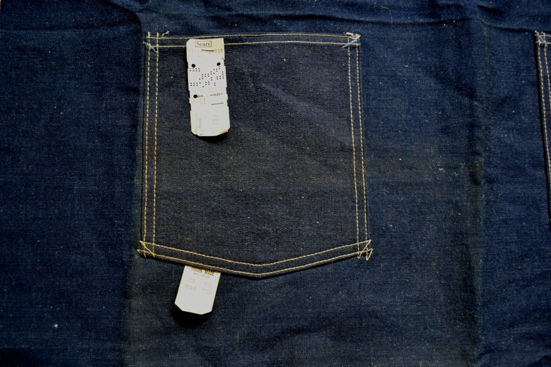 Sears union made selvage selvedge long john blog blue rigid raw american 1950 deadstock usa apron schort deadstock long john green new old  (10)
