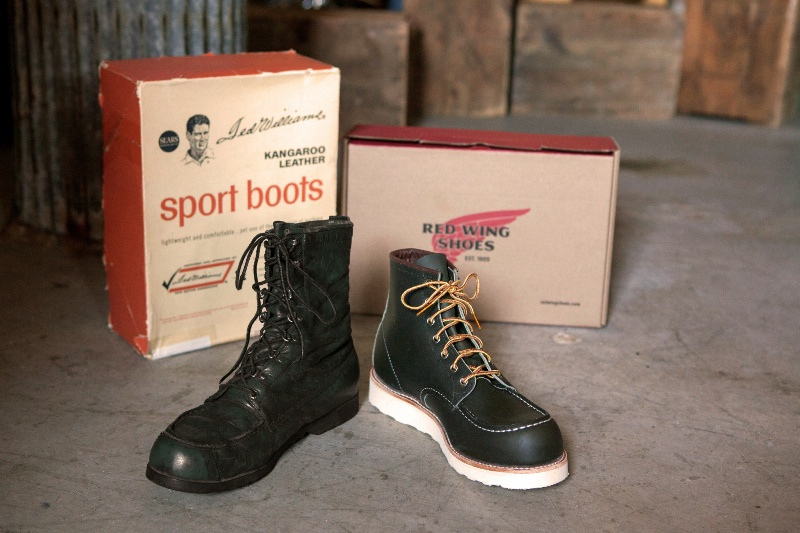The-original-Red-Wing-888-next-to-the-new-Red-Wing-8180-Kangatan long john blog usa made goodyear welted construction workwear moc toe 1905 golden brown laces white sole army green kickers japan  (1)