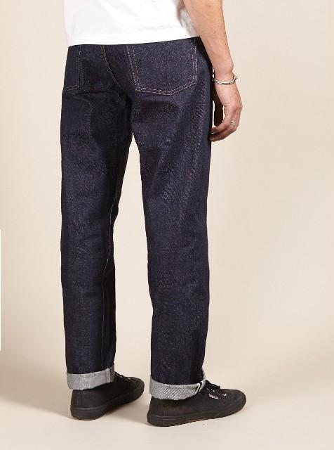 Universal works jeans denim selvage britisch long john blog blue rigid raw 5 pocket worn-out unwashed washed cinch back patch plain selvedge uk  (2)