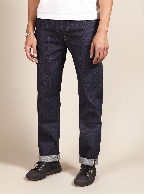 Universal works jeans denim selvage britisch long john blog blue rigid raw 5 pocket worn-out unwashed washed cinch back patch plain selvedge uk  (3)