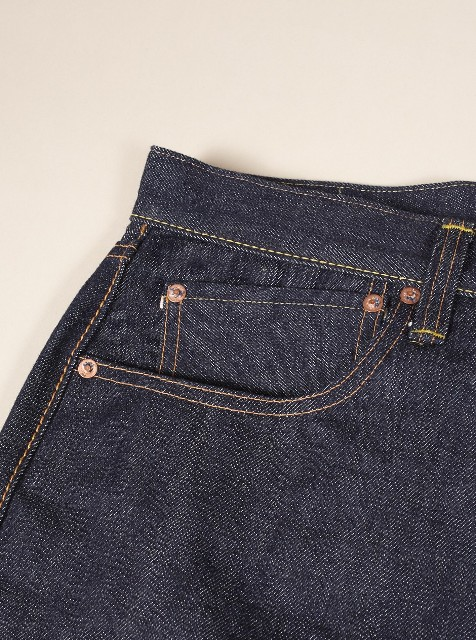 Universal works jeans denim selvage britisch long john blog blue rigid raw 5 pocket worn-out unwashed washed cinch back patch plain selvedge uk  (8)