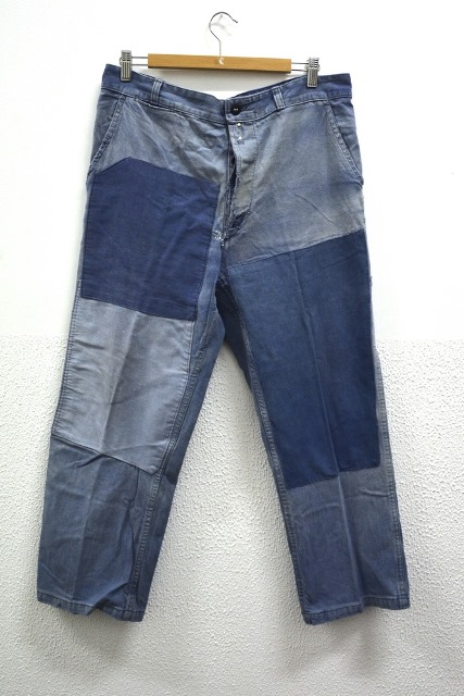 bazardespoilus french france workwear jackets jack long john blog pants trouser trousers blue indigo vintage original 1940 1950 for sale patched repaired  (2)