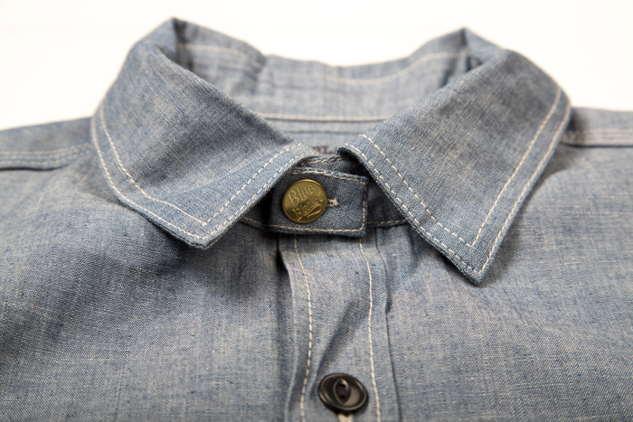 blue blanket jeans denim italy long john blog shirt blouse blue washed rigid raw selvage selvedge motor motors bikers biker never without buttons fish eye  (6)