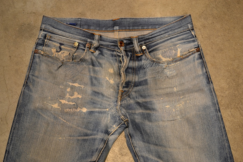 bob rijnders best of brands hoogland long john blog denim jeans butcher of blue worn-out holland repair patched hook blue unwashed selvage selvedge rigid torn patch 2 years old rinse 5 pocket  (4)