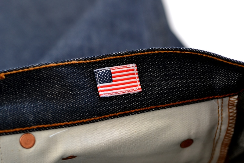brave star denim jeans long john blog blue raw rigid unwashed selvage selvedge buttons 5 pocket rigid usa cone mills fabric usa made handmade blauw spijkerbroek review leather patch chainstitch indigo (10)
