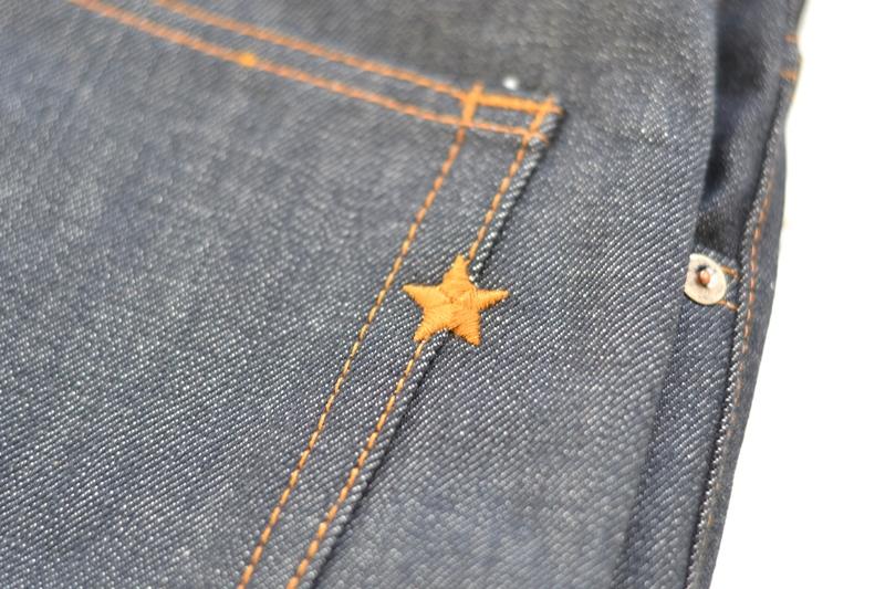 brave star denim jeans long john blog blue raw rigid unwashed selvage selvedge buttons 5 pocket rigid usa cone mills fabric usa made handmade blauw spijkerbroek review leather patch chainstitch indigo (5)