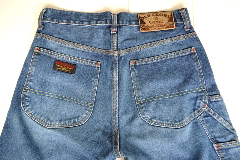 diesel old glory vintage long john blog labour denim jeans italy made 1994 blue indigo renzo rosso collection non selvage selvedge leather patch  (10)