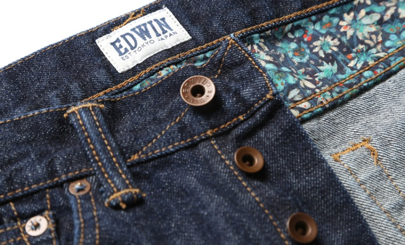 edwin jeans liberty london jeans ed-80 long john blog selvage selvedge all over fabric japan raw rigid blue unwashed faded authentic store flowers exclusive 5 pocket spijkerbroek (9)