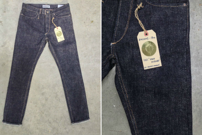 endrime denim presents 18oz hand stitched jeans long john