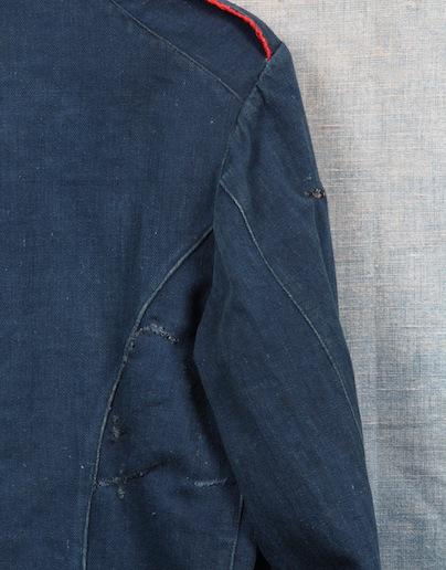 french france firemen fireman jacket jack long john blog toile de chine blue vintage old 1940 1950 treasure herringbone fabric faded blouse jasje brandweerman deadstock  (1)