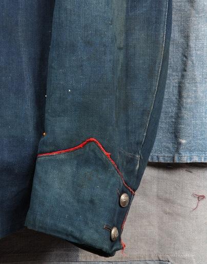 french france firemen fireman jacket jack long john blog toile de chine blue vintage old 1940 1950 treasure herringbone fabric faded blouse jasje brandweerman deadstock  (5)