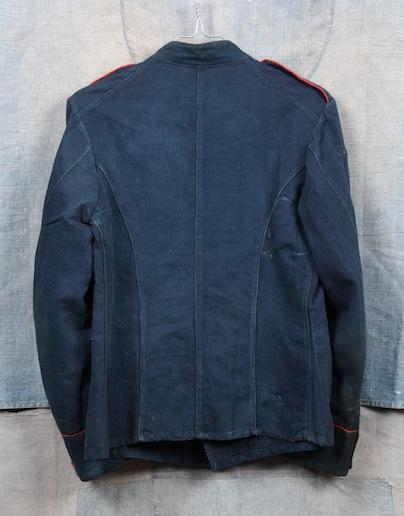 french france firemen fireman jacket jack long john blog toile de chine blue vintage old 1940 1950 treasure herringbone fabric faded blouse jasje brandweerman deadstock  (8)