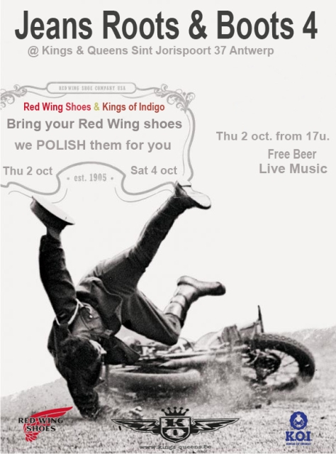 kings and queens store antwerp long john blog hans bollen denim event red wing koi 2014 october jeans roots & boots
