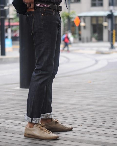 kiriko jeans denim long john blog blue indigo spijkerbroek kimono japan usa workwear 5 pocket leather patch straight fit yoke selvage selvedge zelfkant worn-out  (2)