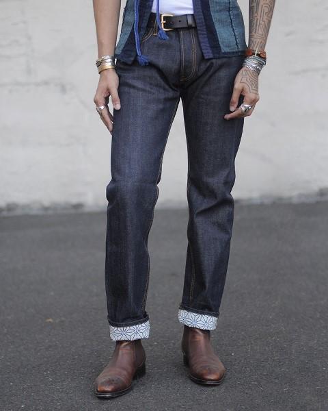 kiriko jeans denim long john blog blue indigo spijkerbroek kimono japan usa workwear 5 pocket leather patch straight fit yoke selvage selvedge zelfkant worn-out  (3)
