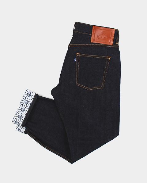 kiriko jeans denim long john blog blue indigo spijkerbroek kimono japan usa workwear 5 pocket leather patch straight fit yoke selvage selvedge zelfkant worn-out  (6)
