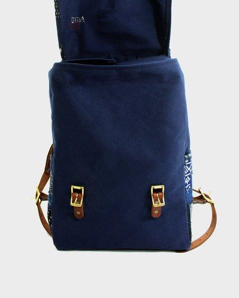 kiriko red cloud collab backpack long john blog brand portland limited edition boro sashiko blue indigo handmade craftsmanship blue indigo denim jeans(1)