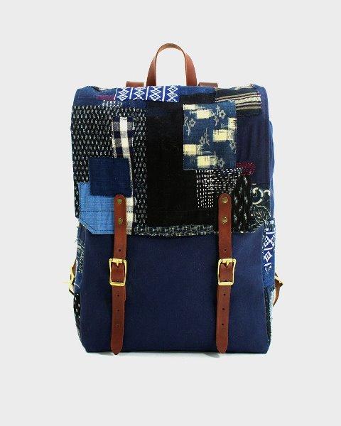 kiriko red cloud collab backpack long john blog brand portland limited edition boro sashiko blue indigo handmade craftsmanship blue indigo denim jeans(6)