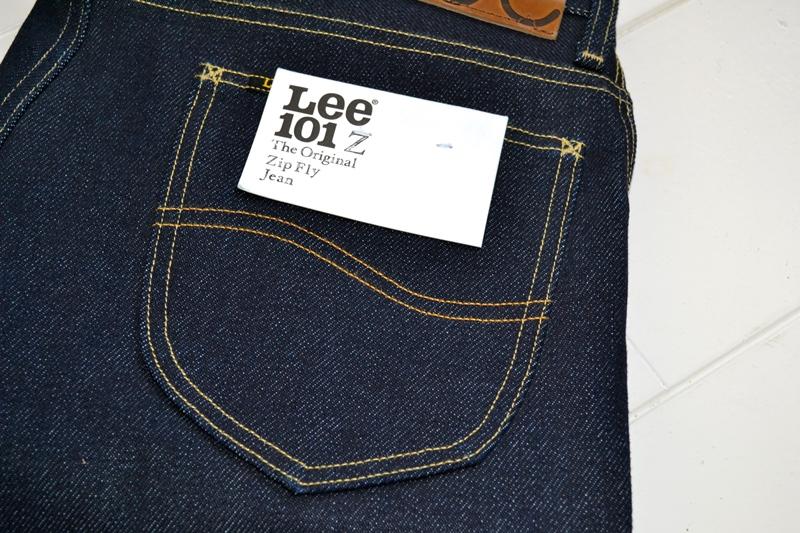 lee 101z jeans denim long john blog blue blauw 23oz limited edition 250 pieces usa denim selvage selvegde golden brown zipper lazy horn button leather patch 2013 right hand denim (2)