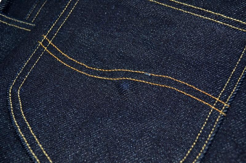 lee 101z jeans denim long john blog blue blauw 23oz limited edition 250 pieces usa denim selvage selvegde golden brown zipper lazy horn button leather patch 2013 right hand denim (7)