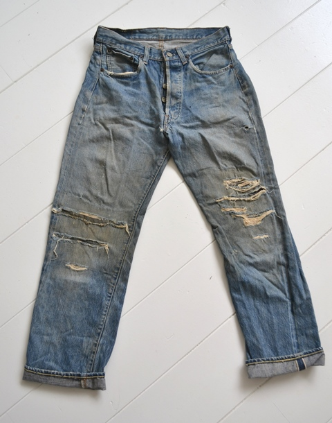 levi's 501 big e 1960 vintage long john blog jeans denim rare treasure worn-out blue blauw usa us cone mills levi strauss selvage selvedge button number 6 washed out rigid raw unwashed 5 pocket  (5)