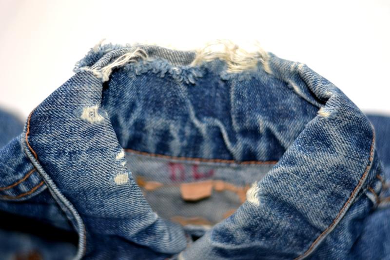 levi's jeans long john blog jacket vintage original big e bige trucker type 3 blue denim usa made cone mills red tab (2)