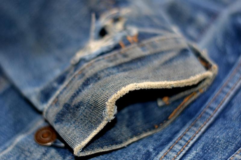 levi's jeans long john blog jacket vintage original big e bige trucker type 3 blue denim usa made cone mills red tab (3)