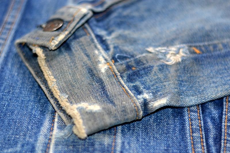 levi's jeans long john blog jacket vintage original big e bige trucker type 3 blue denim usa made cone mills red tab (5)